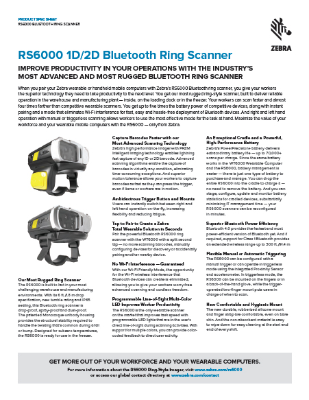 RS6000 1D/2D Bluetooth Ring Scanner